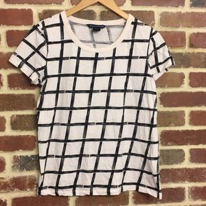 French Connection t-shirt with black window panes